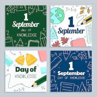 Collection de messages instagram de dessin animé 1 septembre