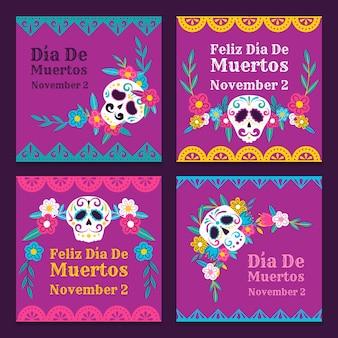 Collection de messages instagram dia de muertos dessinés à la main