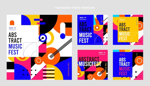 Collection de messages instagram du festival de musique en mosaïque plate