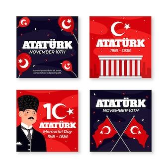 Collection de messages instagram du jour commémoratif d'ataturk dessinés à la main