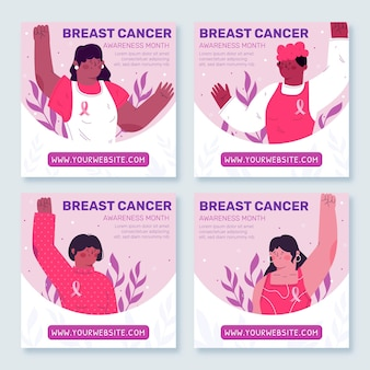 Collection de messages instagram du mois de sensibilisation au cancer du sein plat dessiné à la main