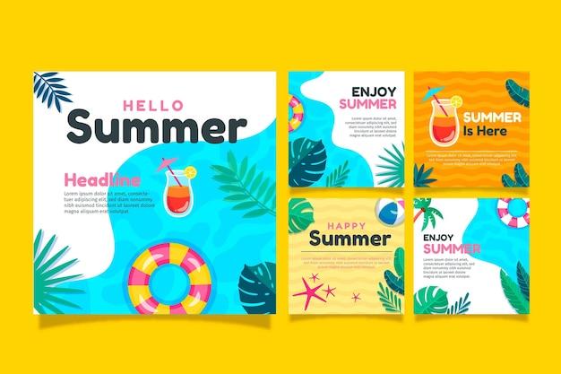 Collection de messages instagram d'été de dessin animé