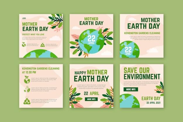 Collection de messages instagram de la fête de la terre mère