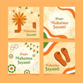 Collection de messages instagram gandhi jayanti plats dessinés à la main