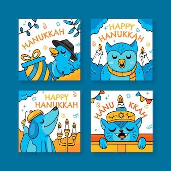 Collection de messages instagram de hanukkah dessinés à la main