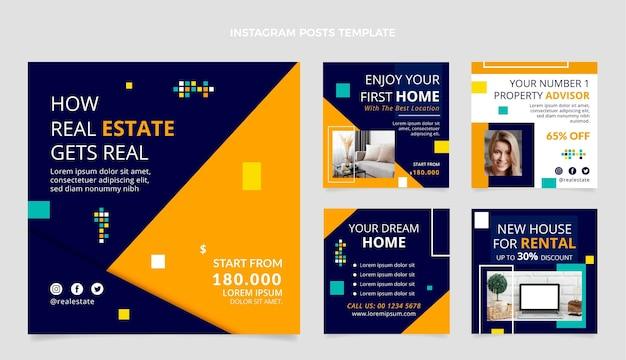 Collection de messages instagram immobiliers géométriques abstraits plats