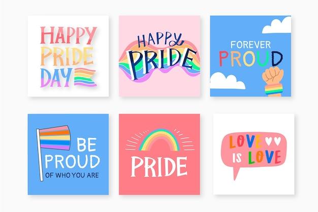 Collection de messages instagram de jour de fierté dessinés à la main