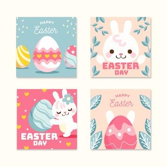 Collection de messages instagram de jour de pâques avec lapin
