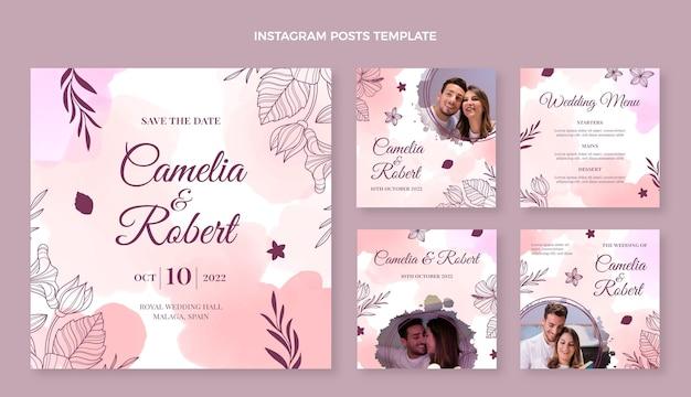 Collection de messages instagram de mariage dessinés à la main à l'aquarelle