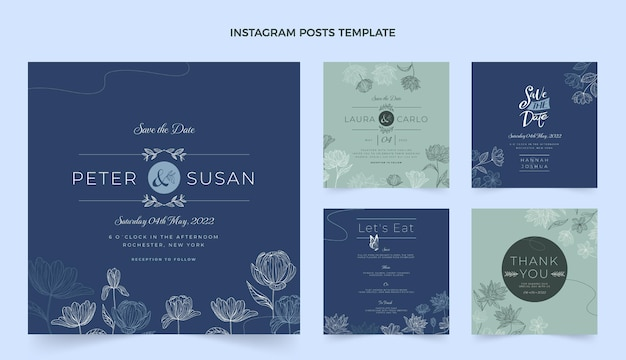 Collection de messages instagram de mariage dessinés à la main