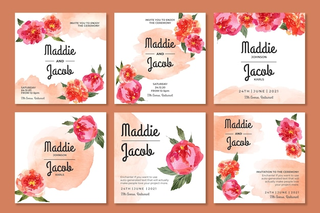 Collection de messages instagram de mariage floral