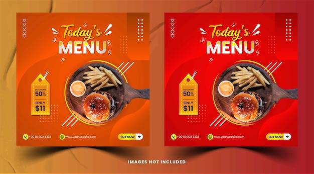 Collection de messages instagram de menu culinaire