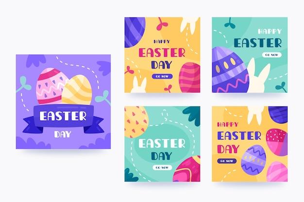 Collection de messages instagram de pâques dessinés à la main