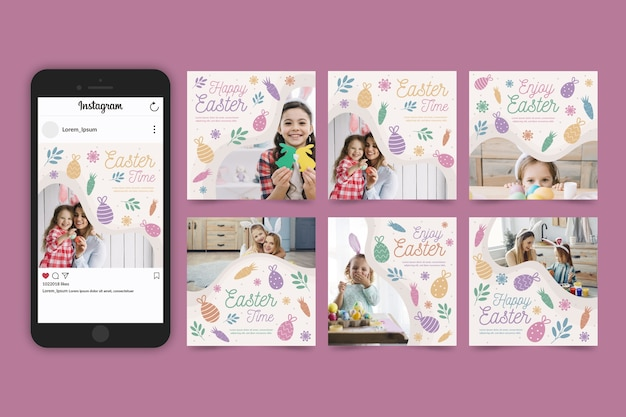 Collection de messages instagram de pâques avec des photos