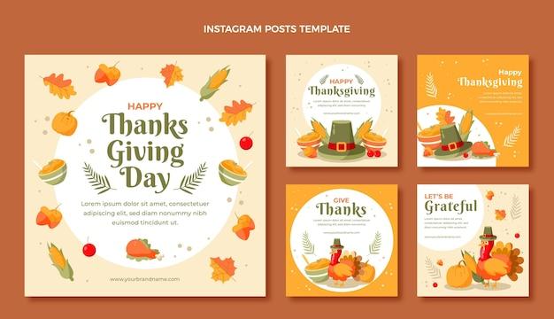 Collection de messages instagram à plat dessinés à la main pour thanksgiving