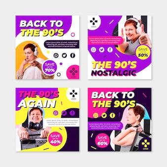 Collection de messages instagram plats nostalgiques des années 90 avec photo