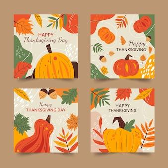 Collection de messages instagram pour thanksgiving dessinés à la main