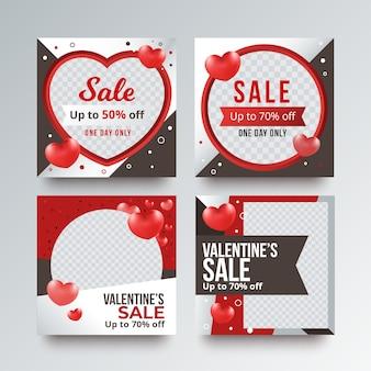 Collection de messages instagram pour la vente de la saint-valentin