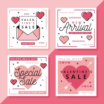 Collection de messages instagram pour la vente de la saint-valentin
