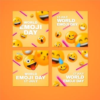 Collection de messages instagram réalistes de la journée mondiale des emoji en 3d