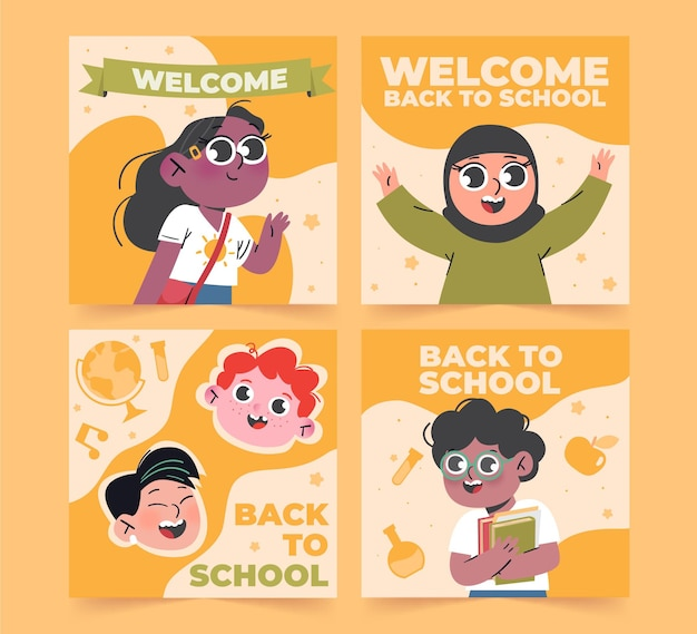 Collection de messages instagram de retour à l'école dessinée à la main