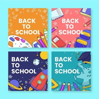 Collection de messages instagram de retour à l'école dessinés à la main