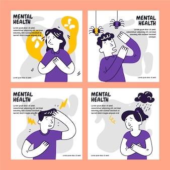 Collection de messages instagram sur la santé mentale dessinés à la main