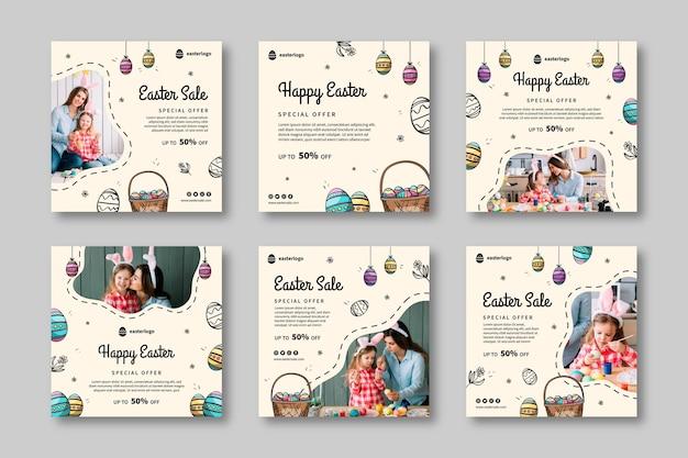 Collection de messages instagram de soldes de pâques