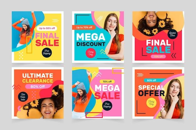 Collection de messages instagram de vente colorée
