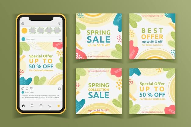 Collection de messages instagram de vente dessinés à la main