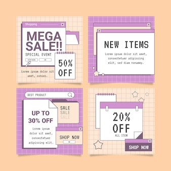 Collection de messages instagram de vente plate