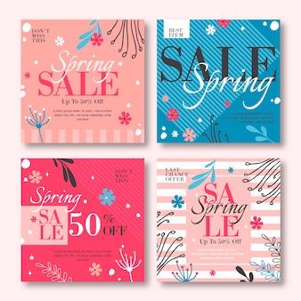 Collection de messages instagram de vente de printemps dessinés à la main