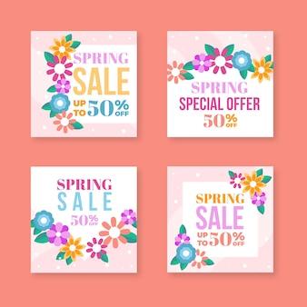 Collection de messages instagram de vente de printemps avec des fleurs