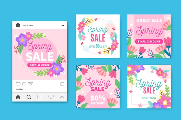 Collection de messages instagram de vente de printemps