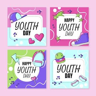 Collection de messages de la journée internationale de la jeunesse dessinée à la main