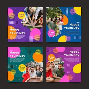 Collection de messages de la journée internationale de la jeunesse avec photo