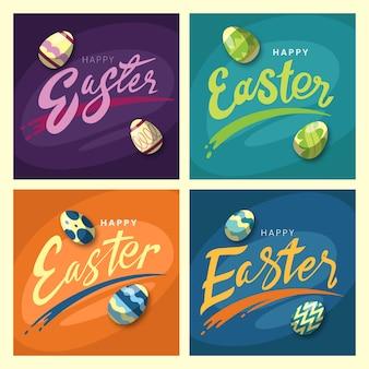 Collection de messages de pâques instagram avec des oeufs sportifs