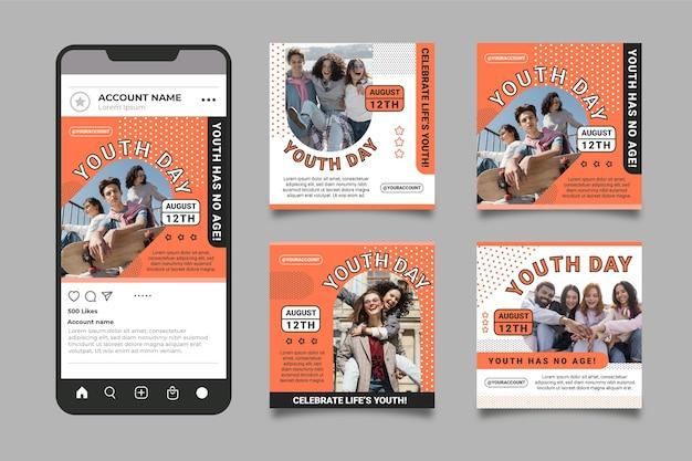 Collection De Messages Plats Pour La Journée Internationale De La Jeunesse Avec Photo Vecteur Premium