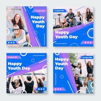 Collection de messages plats pour la journée internationale de la jeunesse avec photo