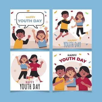 Collection de messages plats pour la journée internationale de la jeunesse