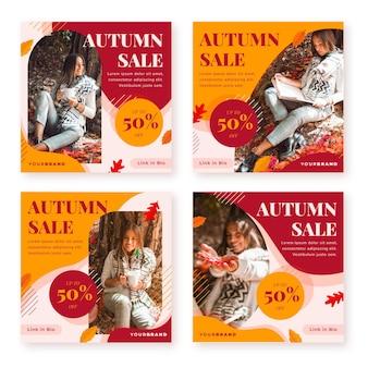 Collection de messages de vente instagram d'automne plat