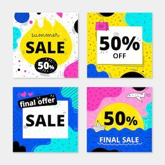 Collection de messages de vente instagram dessinés à la main avec photo