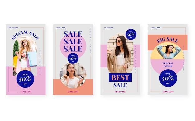 Collection de messages de vente instagram plats avec photo