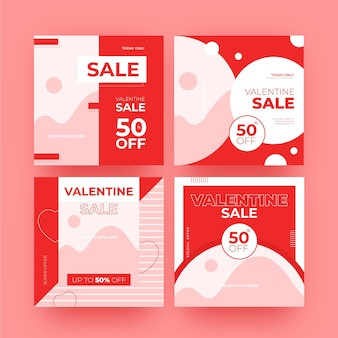 Collection de messages de vente modernes pour la saint-valentin