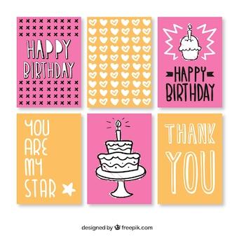 Collection mignon carte d'anniversaire tirée par la main