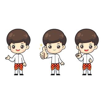 Collection de mignon garçon thaïlandais porter le costume traditionnel de la thaïlande, personnage de dessin animé de mascotte kawaii dans de nombreuses actions à titre d'illustration