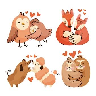 Collection mignonne avec des animaux amoureux
