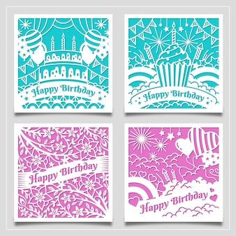 Collection mignonne et belle de cartes de voeux de joyeux anniversaire avec style découpé en papier