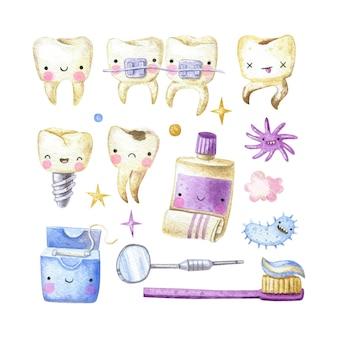 Collection mignonne dentaire avec des dents dentifrice brosse à dents bactéries fil dentaire