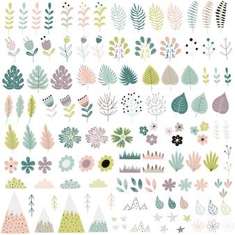 Collection mignonne de fleurs et de plantes